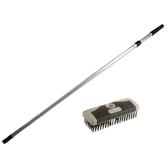 Wire Broom Head Stiff Metal Deck Scrub Wire Scrubbing Broom Brush Complete with Handle - The Dustpan and Brush Store