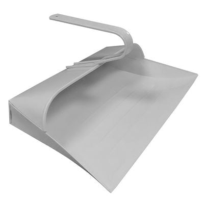 White Metal Hooded Dustpan, Metal Closed Dust Pan