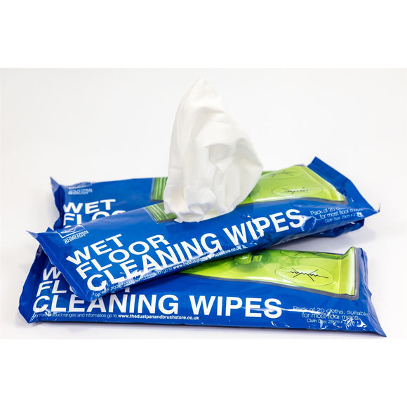 Wet Floor Cleaning Wipes 3 Pack Bundle (Total 60 Cloth Wipes) Fit Most Flat Swivel Floor Mops 21cm x 29cm - Ideal on Laminate Tile Hard Wood Gloss Flooring etc