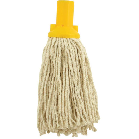 Yellow Colour Coded No12 Pure Yarn Plastic Socket Cotton Mop Head - The Dustpan and Brush Store