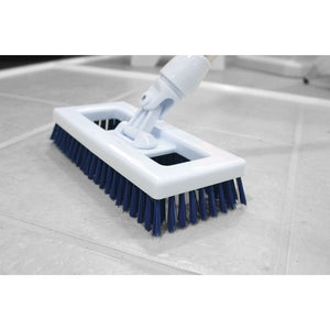 "Red Swivel Stiff 9"" Deck Scrub Tile Grout Side Floor Scrubbing Cleaning Brush and Handle"