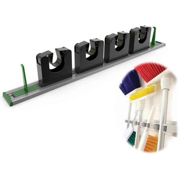 Aluminium Metal Mop and Broom Holder Tool Wall Clip Hygiene Holder Organiser Tidy - The Dustpan and Brush Store