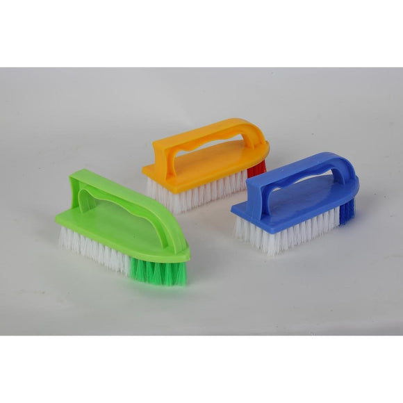 Pack of 10 Iron Shaped Plastic Synthetic Scrubbing Brushes Assorted Colours - The Dustpan and Brush Store