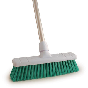 "Green 12"" Stiff Colour Coded Food Hygiene Brush Sweeping Broom and Handle - The Dustpan and Brush Store"