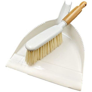 Cream Bamboo Dustpan and Brush Set