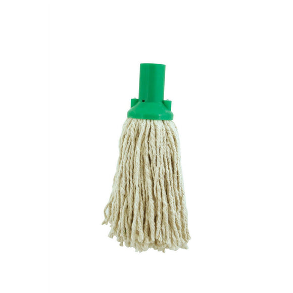 Green Colour Coded No12 Pure Yarn Plastic Socket Cotton Mop Head