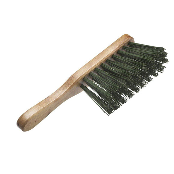 Varnished Hand Banister Brush with Stiff Green/Red Synthetic Bristles