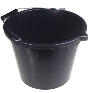 Black Builders Bucket Strong Quality Large Bucket - The Dustpan and Brush Store