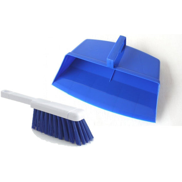 Blue Colour Coded Hooded Dustpan and Brush, Blue Cleaning Hygiene Dust pan and Brush