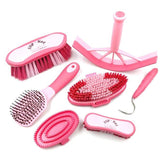 Charles Bentley Slip-Not Equestrian Horse Grooming Cleaning Brush Kit Pink Set