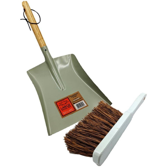 Heritage Green Coal Shovel with Hand Brush Set - The Dustpan and Brush Store