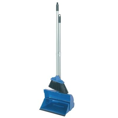 Blue Long Handled Dustpan and Brush Colour Coded