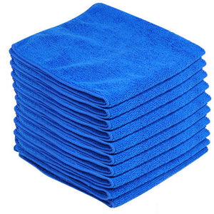 Blue Microfibre Large Cleaning Cloths 10 Pack Super Soft Multi Purpose Absorbent Cloths