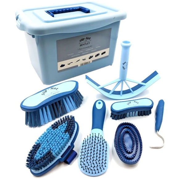 Charles Bentley Slip-Not Equestrian Horse Grooming Cleaning Brush Kit Blue Set