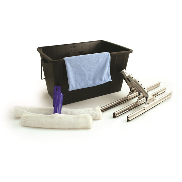 Professional 7 Pc Window Cleaning Kit Includes Bucket, Squeegee Applicator Microfibre Cloth - The Dustpan and Brush Store