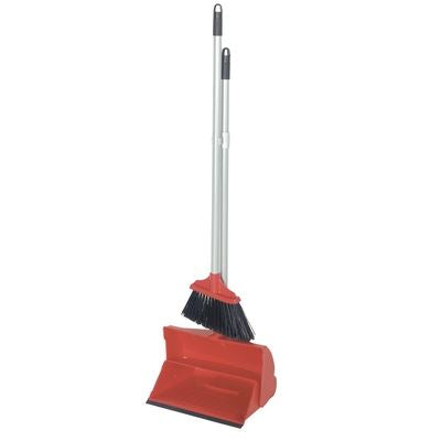 Red Long Handled Dustpan and Brush Colour Coded