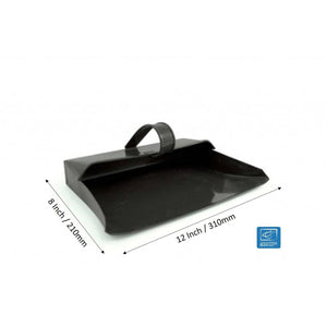 Black Metal Dustpan Hooded Dust Pan Strong Traditional Metal Closed Dustpan