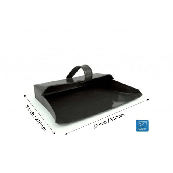 Black Metal Dustpan Hooded Dust Pan Strong Traditional Metal Closed Dustpan - The Dustpan and Brush Store