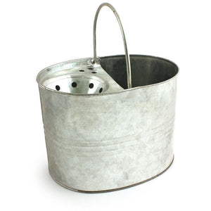 Galvanised Mop Bucket Strong Metal Traditional Style Mop Bucket - The Dustpan and Brush Store