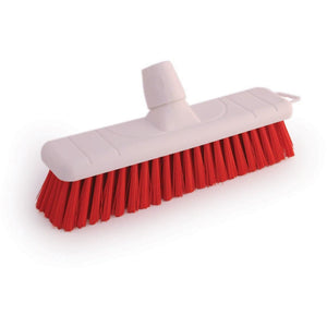 Red 12'' 300 mm Stiff Colour Coded Food Hygiene Brush Sweeping Broom Head Only