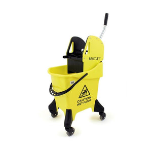 Yellow Large Heavy Duty Ergo 31L Kentucky Mop Bucket on Wheels with Wringer - The Dustpan and Brush Store