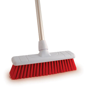 "Red 12"" Stiff Colour Coded Food Hygiene Brush Sweeping Broom and Handle - The Dustpan and Brush Store"