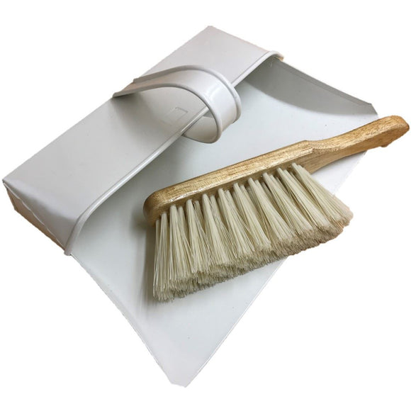 Cream Metal Hooded Traditional Design Dustpan with Soft Bristle Wooden Hand Brush