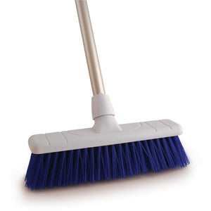 "Colour Coded Blue 12"" Stiff Sweeping Brush and Handle  - Screw Fit"