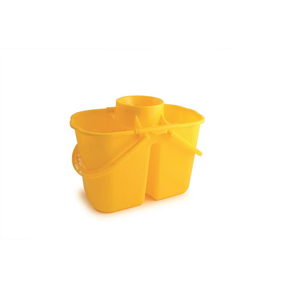 Yellow Duo Professional Double Mop Bucket with Dirty Water Compartment - The Dustpan and Brush Store