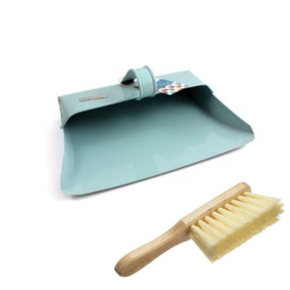 Metal Dustpan and Brush Traditional Hooded Closed Dust Pan and Soft Hand Brush