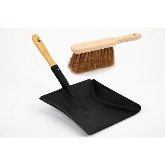 Metal Coal Shovel and Smoothed Wooden Handle Supplied with Soft Coco Hand Brush - The Dustpan and Brush Store