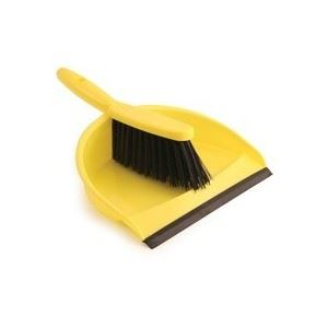 Yellow Colour Coded Dustpan and Stiff Brush