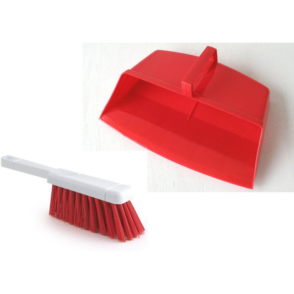 Red Colour Coded Hooded Dustpan and Brush, Red Cleaning Hygiene Dust pan and Brush