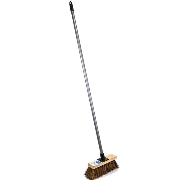 Stiff Garden Sweeping Brush Outdoor 10 Inch Wide Broom with Natural Bassine Bristles and Metal Handle - The Dustpan and Brush Store