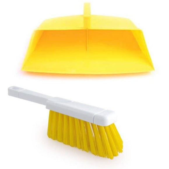 Yellow Colour Coded Hooded Dustpan and Brush, Yellow Cleaning Hygiene Dust pan and Brush