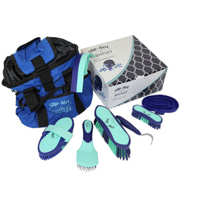 Bentley Deluxe 8pc Equestrian Horse Grooming Brush Kit Boxed Set Mint & Navy - The Dustpan and Brush Store