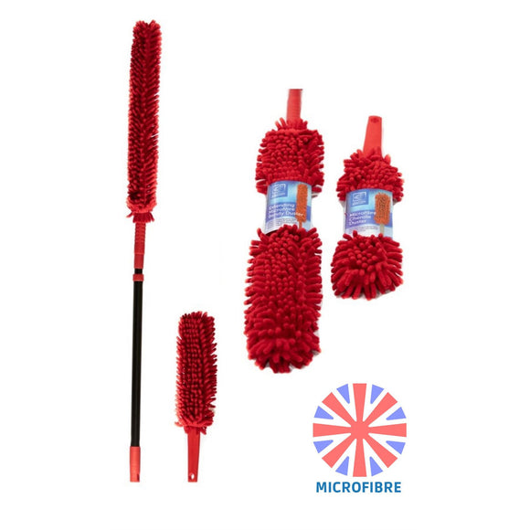 Microfibre Bendy Feather Duster Set Extendable Handle & Hand Duster