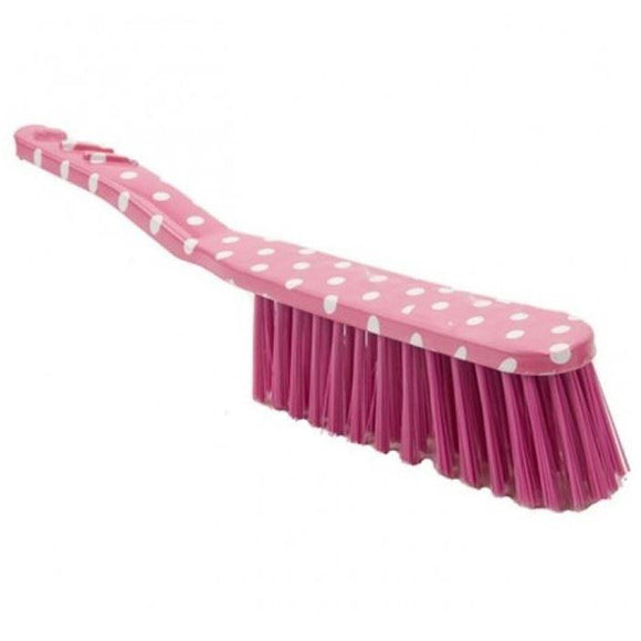 Polka Pink Hand Brush Soft Bristle Plastic Coloured Banister Brush