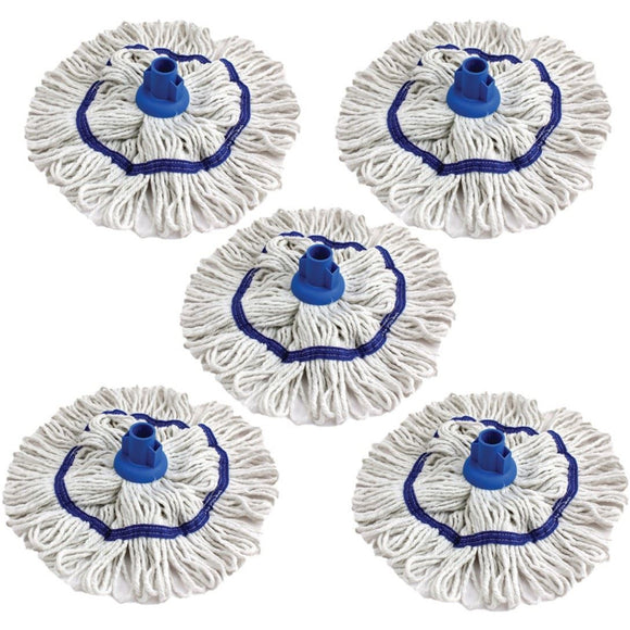 Blue 350mm Looped Pure Yarn Cotton Mop with Loop Food Hygiene Colour Coded Pack of 5 - The Dustpan and Brush Store