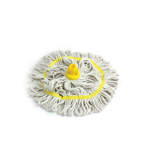 Yellow 350mm Looped Pure Yarn Cotton Mop with Loop Food Hygiene Colour Coded