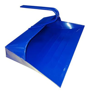 Blue Metal Hooded Dustpan, Metal Closed Dust Pan - The Dustpan and Brush Store