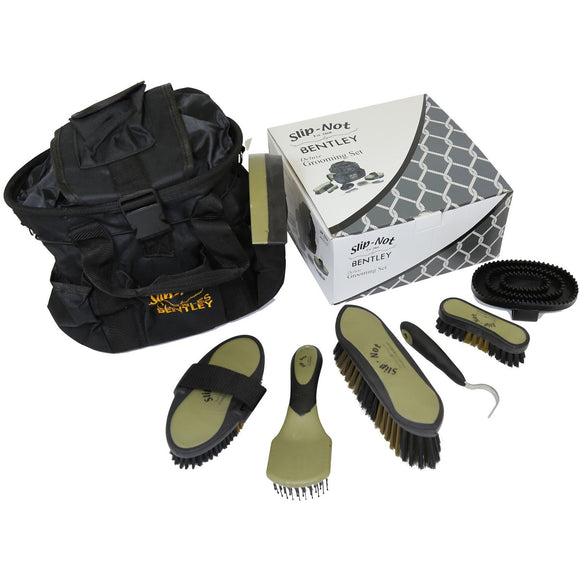 Bentley Deluxe 8pc Equestrian Horse Grooming Brush Kit Boxed Set Black & Gold - The Dustpan and Brush Store