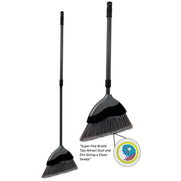 Soft Angled Indoor Broom with Telescopic Silver / Grey Adjustable Handle