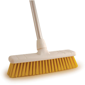 "Yellow 12"" Stiff Colour Coded Food Hygiene Brush Sweeping Broom and Handle - The Dustpan and Brush Store"