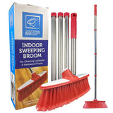 Red & White Indoor Broom with 4 Section Stainless Handle