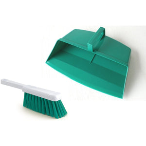 Green Colour Coded Hooded Dustpan and Brush, Green Cleaning Hygiene Dust pan and Brush