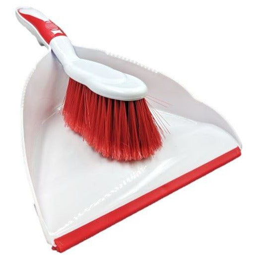 Deluxe Dustpan and Brush Set in Red