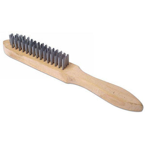 Wooden Wire Brush 4 Row Metal Bristle Scraper - The Dustpan and Brush Store