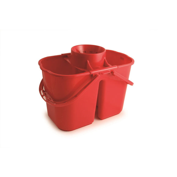 Red Duo Professional Double Mop Bucket with Dirty Water Compartment
