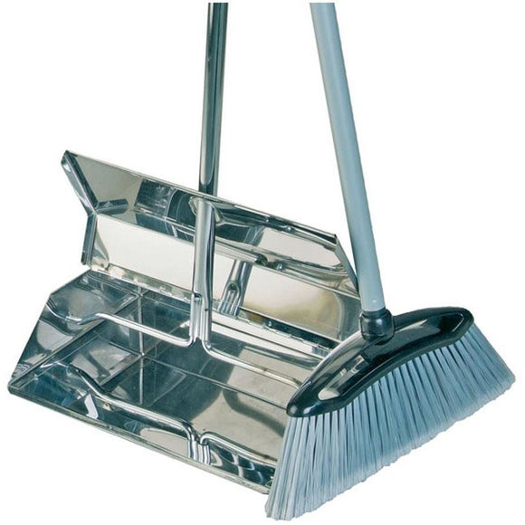 Stainless Steel Metal Long Handled Lobby Dustpan and Brush, Strong and Industrial